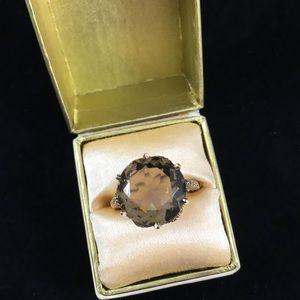 Jewelry - Vintage 9k yellow gold 375 smoky quartz ring